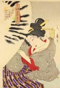 Xilografia policroma dalla serie Fuzoku sanjuni so_1888_inchiostro e pigmenti su carta