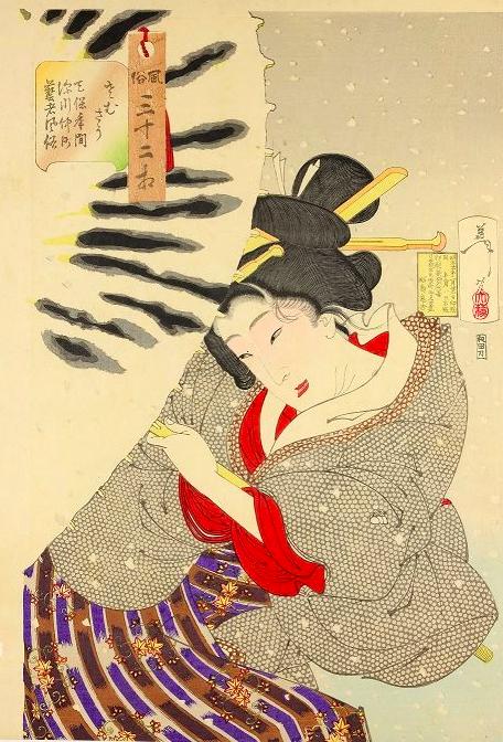 """Xilografia policroma dalla serie """"Fuzoku sanjuni so""""_1888_inchiostro e pigmenti su carta.png"""